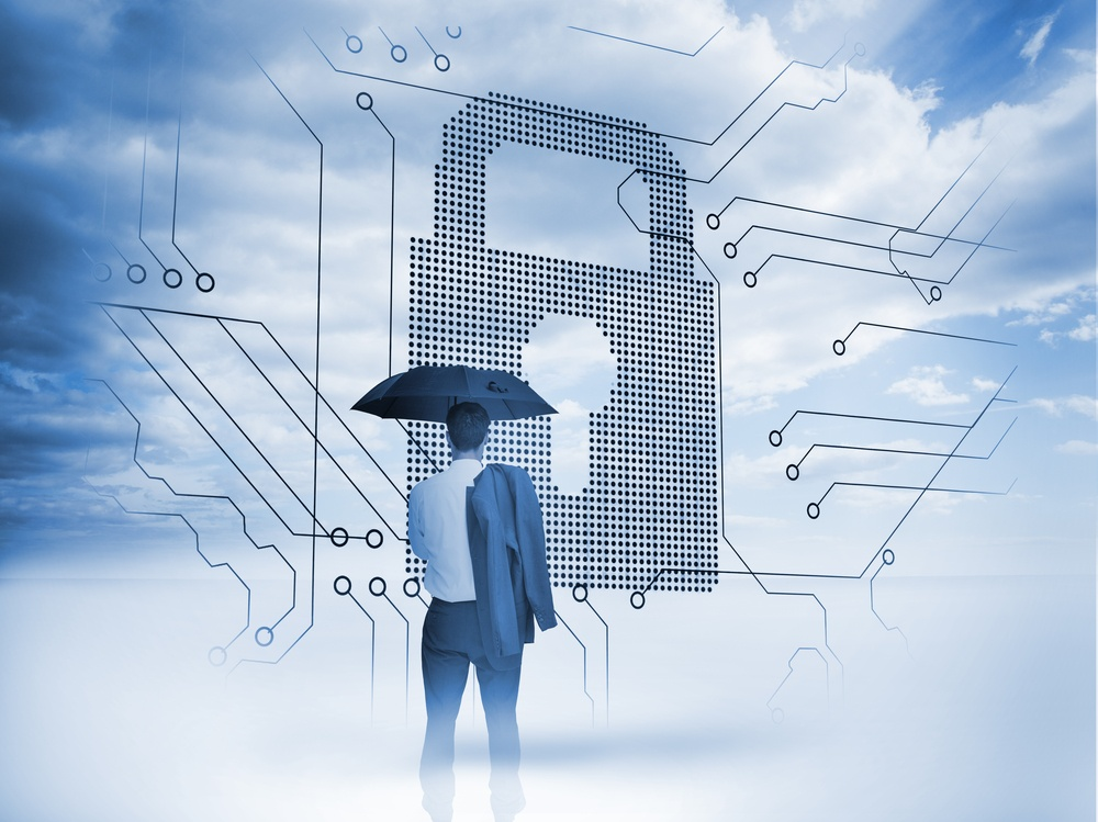 Businessman under an umbrella looking at a big padlock with circuit board and blue sky on the background